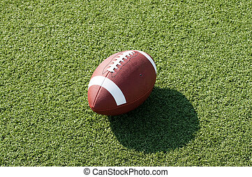 American Football on Field - American football sitting on...
