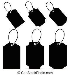 tag in black color set illustration