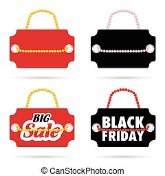 tag of balck friday and big sale on it color illustration