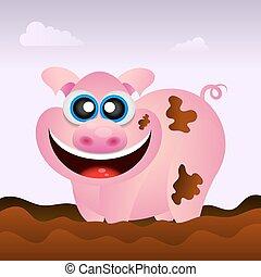 Pig illustration funny