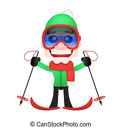 cross country skiing - Skis isolated, skier and snow, cross...