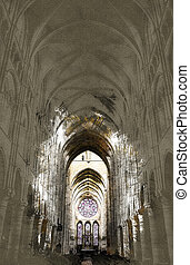 Nave of a Gothic Church - Long Nave of a Gothic Church....