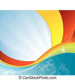 Wave background with windsurfing, element for design, vector...