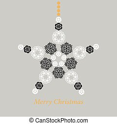 Christmas star made from snowflakes vector illustration