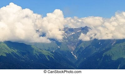 Mountains in the clouds. Psekhako Ridge. Time Lapse. Sochi,...