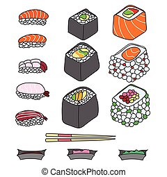 Various different types of sushi