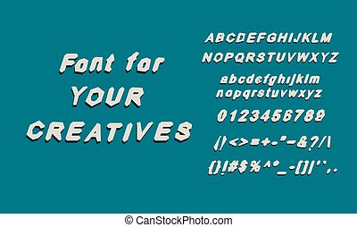 English alphabet font glyphs font. Uppercase and lowercase...