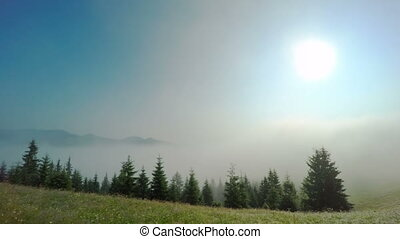 Morning Mist in Mountans. - Time Lapse Clip. Fantastic...