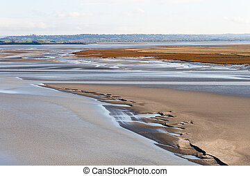 Sea coast at low tide, Saint Michael's, France - Sea coast...