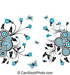 Flower background with butterfly, element for design, vector...