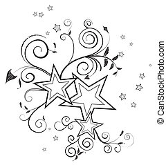 Flower background with stars, element for design, vector...