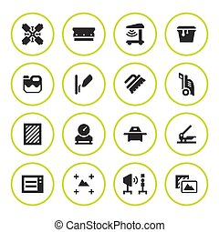 Set round icons of screen printing isolated on white. Vector...