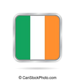 flag of Ireland, shiny metallic gray square button