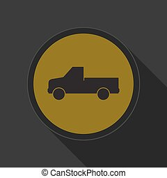 yellow round button - pickup with a flatbed icon - yellow...