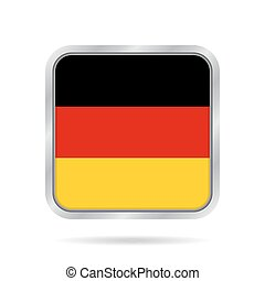 flag of Germany, shiny metallic gray square button