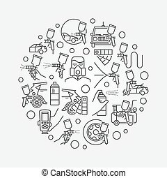 Car paint illustration. Vector round symbol made with car...