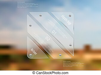 Illustration infographic template with glass rectangle divided to four sections