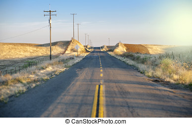 Rural road country side sunset California