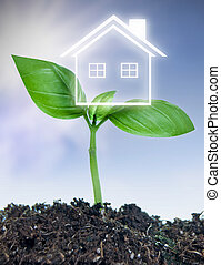 Real estate new investment concept - House symbol emerging...