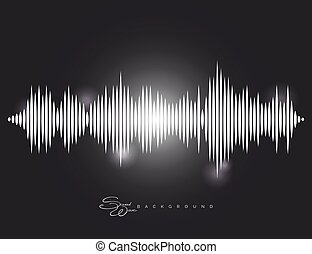 Sound wave background with shining elements