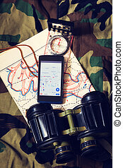 Binoculars and Compass - Military Equipment and Mobile with...