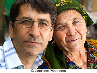 Family portrait - mature son and grandmother - Family...