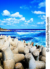 Colorful scene - blue sea, sky and puffy clouds - Colorful...