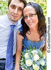 Portrait of happy just married couple