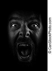 grito, fantasmal, espantado, loco, hombre