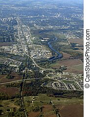 Kitchener Breslau aerial - aerial view of an urban city...