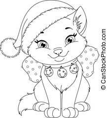 Christmas Cat Coloring Page - Cute christmas cat coloring...