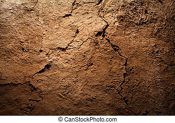 Texture background - dry cracked brown earth - Textured...