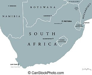 South Africa political map with the capitals Pretoria,...