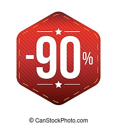 Sale ninety percent off banner red patch