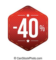 Sale fourty percent off banner red patch