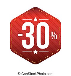 Sale thirty percent off banner red patch