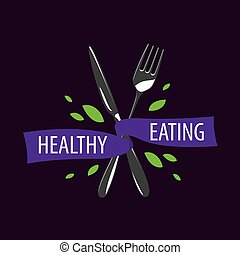 vector logo healthy eating - healthy food logo design...