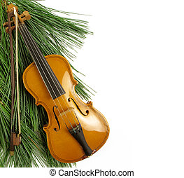 Christmas concert - Beautiful miniature violin against a...