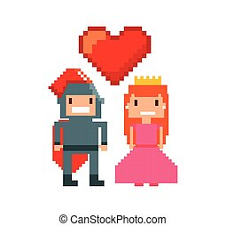 game warrior and princess pixelated icon