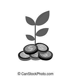 plant with coins isolated icon vector illustration design