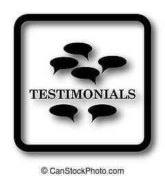Testimonials icon, black website button on white background.