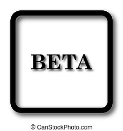 Beta icon, black website button on white background.