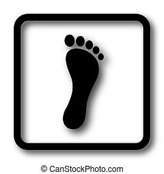 Foot print icon, black website button on white background.