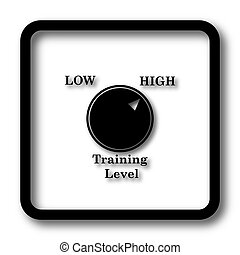 Training level icon, black website button on white...