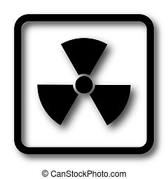 Radiation icon, black website button on white background.