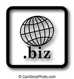 .biz icon, black website button on white background.