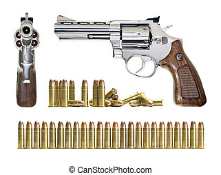 Gun - Several objects in different positions of the gun and...