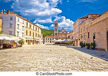 Pjaca square church in Town of Hvar, Dalmatia, Croatia