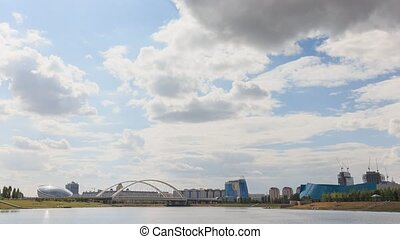 Astana Bridge, Kazakhstan. Day time lapse.. UltraHD (4K)