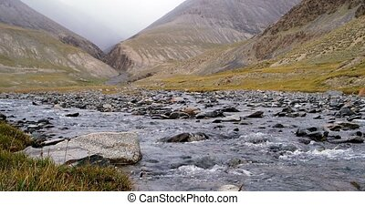 Mountain river Suek. Issyk Kul region, Kyrgyzstan - River...